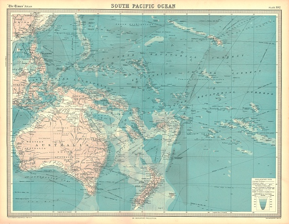 Pacific Ocean「Map Of The South Pacific Ocean Artist Unknown」:写真・画像(9)[壁紙.com]