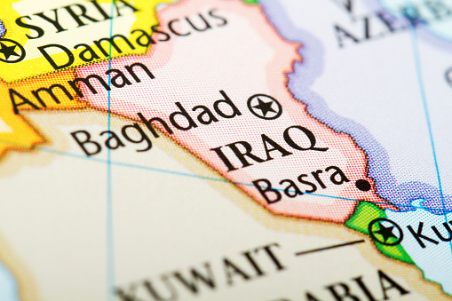 Oil Industry「Map of the country Iraq in red」:スマホ壁紙(7)
