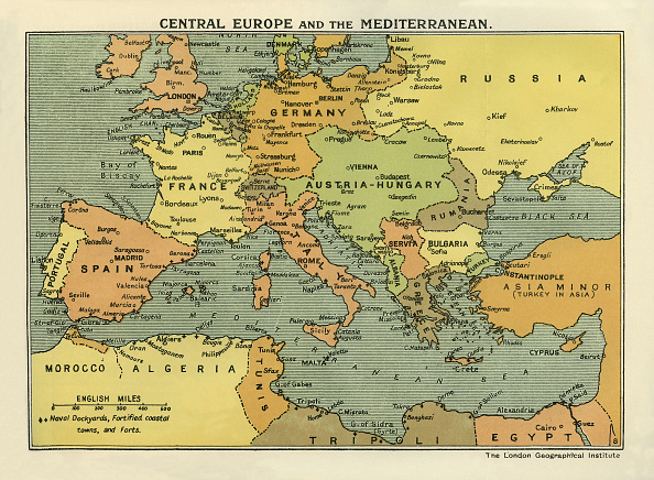 Europe「WWIl Map of Central Europe and the Mediterranean 1914 at the time of the Battle of the Marne」:写真・画像(12)[壁紙.com]