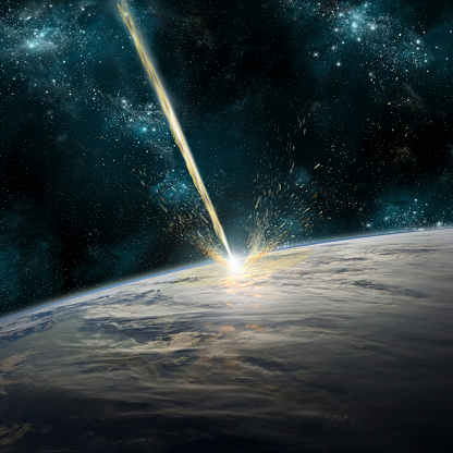 Solar System「A meteor strikes Earth. Clouds cover an ocean area of the planet. Planetary material is ejected back into space.」:スマホ壁紙(15)