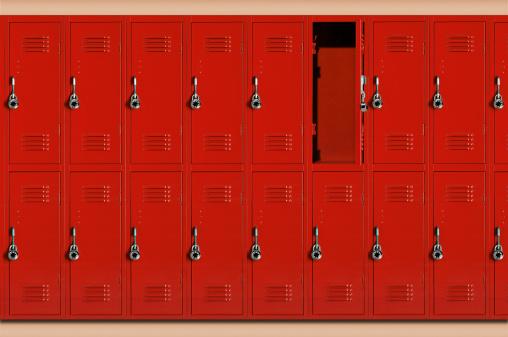 デジタル合成「Red school lockers, one locker open (Digital Composite)」:スマホ壁紙(13)