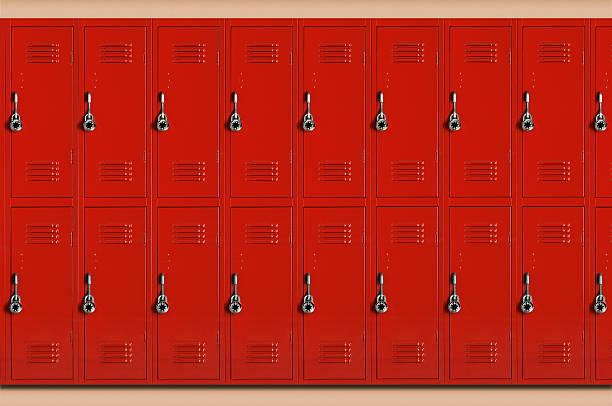 Red school lockers (Digital Composite):スマホ壁紙(壁紙.com)