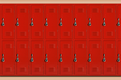 Locker「Red school lockers (Digital Composite)」:スマホ壁紙(13)