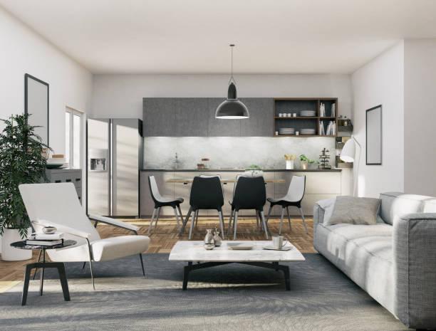 Apartment - Kitchen and Living area:スマホ壁紙(壁紙.com)