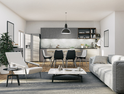 Home Showcase Interior「Apartment - Kitchen and Living area」:スマホ壁紙(14)