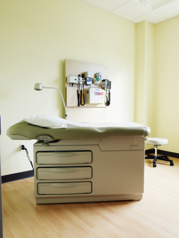 Examination Table「Empty medical exam room with examination table and instruments on wall」:スマホ壁紙(5)