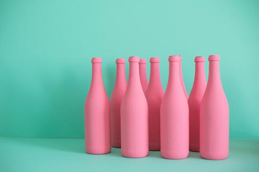 Turquoise Background「Colorful bottles」:スマホ壁紙(5)