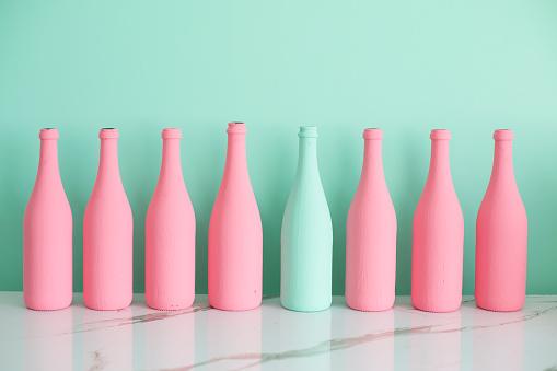 Turquoise Background「Colorful bottles」:スマホ壁紙(15)