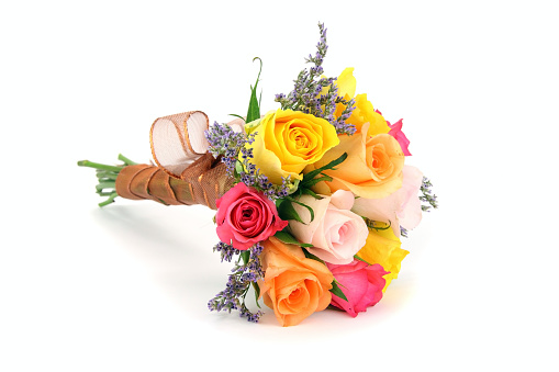Bouquet「Colorful bouquet or posy with stems wrapped in ribbon.」:スマホ壁紙(12)