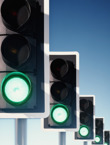 Digital Composite「Row of traffic lights, green lights illuminated (Digital Composite)」:スマホ壁紙(9)