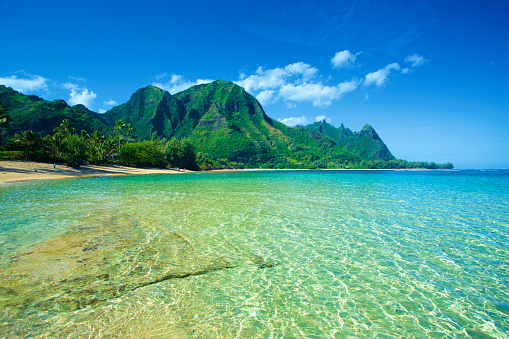 Shallow「Clear turquoise ocean water and the rugged mountainous landscape on the island of Kauai」:スマホ壁紙(12)