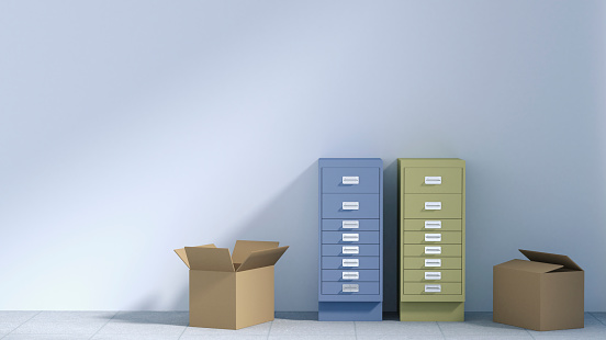 Filing Cabinet「Two drawer cabinets and two cardboard boxes in an empty office, 3D Rendering」:スマホ壁紙(4)