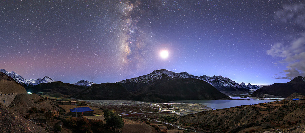 Base Camp「Celestial sky with Milky Way galaxy above Laigu Glacier in Tibet.」:スマホ壁紙(4)