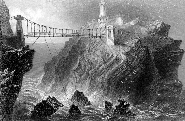 Stack Rock「Suspension bridge to the South Stack lighthouse near Holyhead, Wales, c1860.」:写真・画像(10)[壁紙.com]