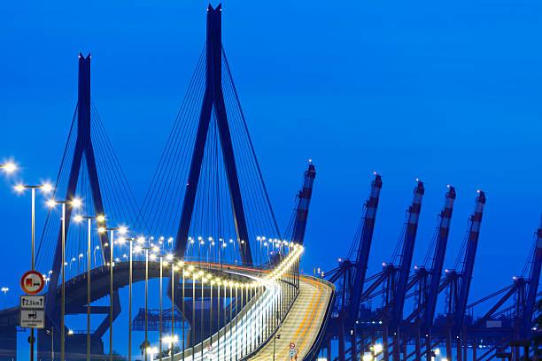 Suspension Bridge With Car Light Trails at Night:スマホ壁紙(壁紙.com)