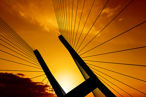 Abstract Backgrounds「XXL suspension bridge silhouette」:スマホ壁紙(18)