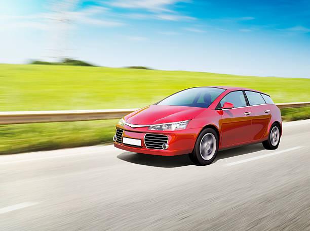 Speeding red car:スマホ壁紙(壁紙.com)