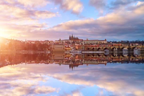 Prague Cityscape at Sunset, Czech Republic:スマホ壁紙(壁紙.com)