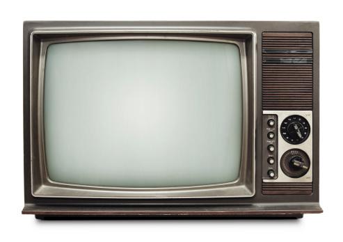 レトロ「白色の背景にビンテージテレビ、クリッピングパス」:スマホ壁紙(19)