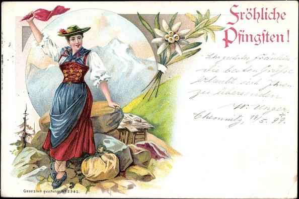 Edelweiss - Flower「Litho Glückwunsch Pfingsten, Frau in Tracht, Gebirge, Edelweiß」:写真・画像(9)[壁紙.com]