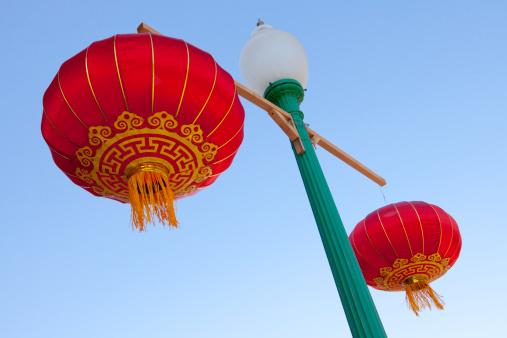 Chinese Lantern「Chinese style lanterns on a lamp post」:スマホ壁紙(9)