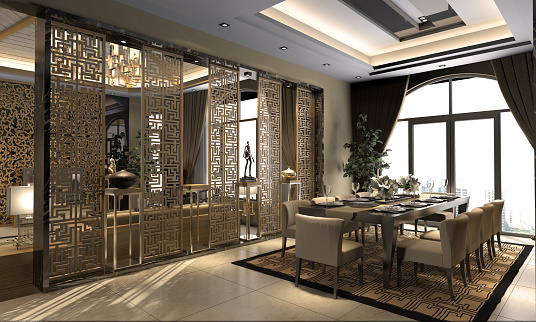 Dining「Chinese Style Dining Room Interior」:スマホ壁紙(11)