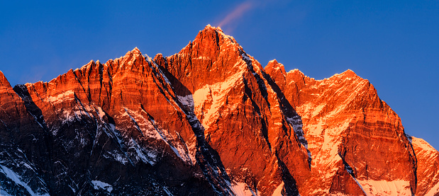 Khumbu「Panorama of Lhotse during sunset」:スマホ壁紙(17)