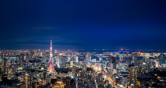 Antenna - Aerial「Panorama of Tokyo Skyline at Night」:スマホ壁紙(9)