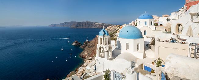 Aegean Sea「Panorama of Oia village in Santorini island of Greece」:スマホ壁紙(19)