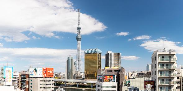 Tokyo Sky Tree「Panorama of the Tokyo Skytree dominating the urban cityscape skyline of Tokyo, Japan.」:スマホ壁紙(19)