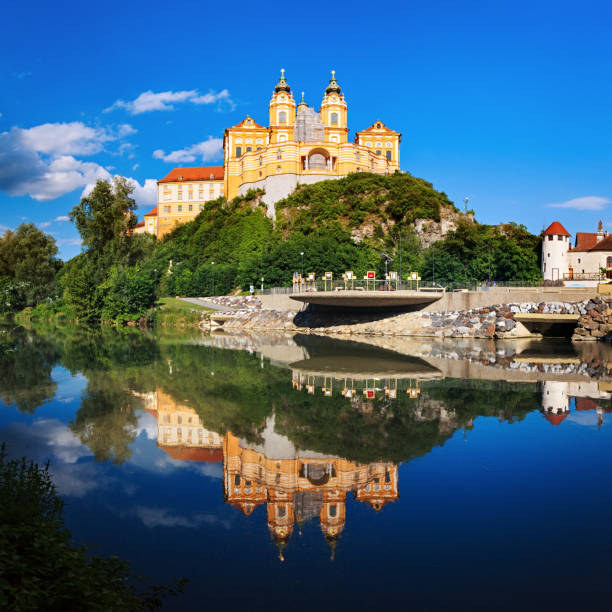 Panorama of the famous St. Peter and Paul Church in Melk Benedictine Abbey, Wachau Valley, Lower Austria:スマホ壁紙(壁紙.com)