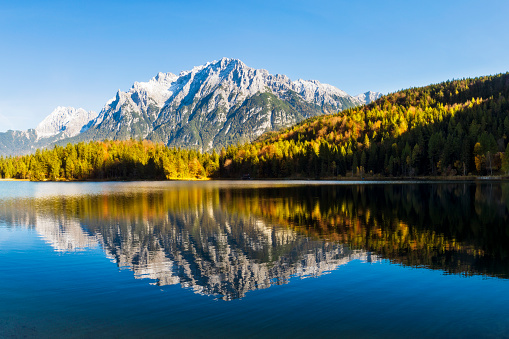 European Alps「Panorama of Lautersee Lake and Wetterstein Mountains, Alps, Bavaria, Germany」:スマホ壁紙(16)