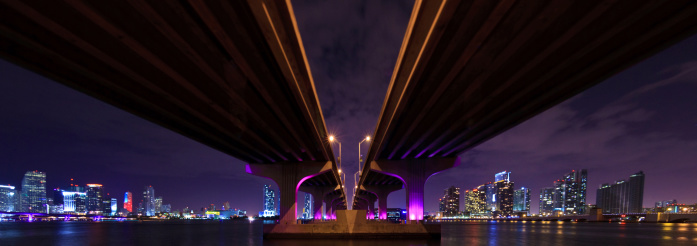 Elevated Road「Panorama of the MacArthur Causeway in Miami」:スマホ壁紙(12)