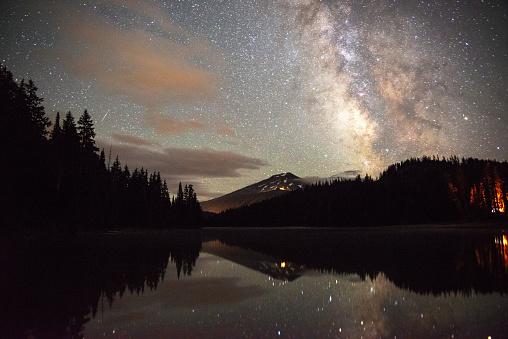 Milky Way「Mt Bachelor reflecting in Todd Lake Bend, Oregon」:スマホ壁紙(14)