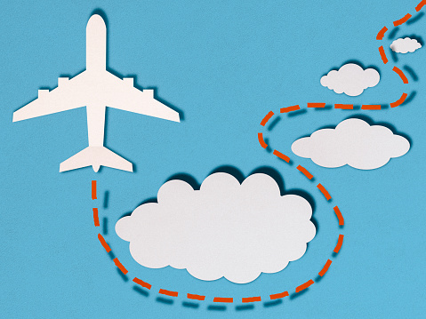 Cartoon「Airplane in clouds, paper cutting style」:スマホ壁紙(15)