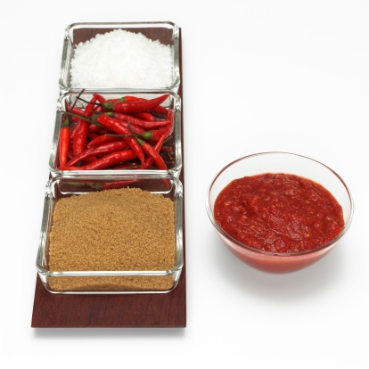 Spice「Red chillies with sauce, brown sugar and salt, close-up」:スマホ壁紙(18)