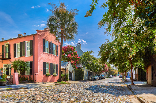 Charleston - South Carolina「Cobblestoned street and historic buildings,USA」:スマホ壁紙(4)
