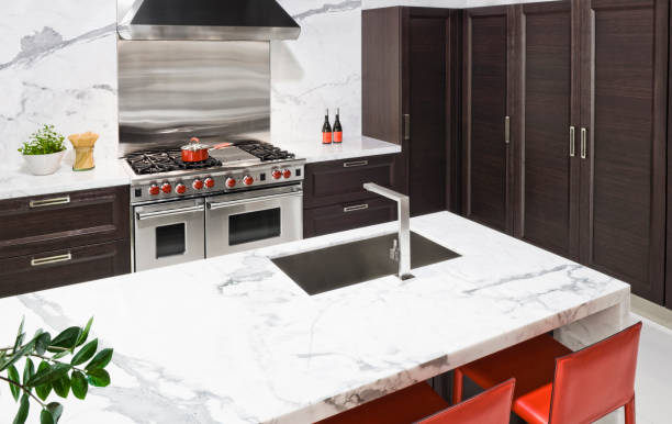 Marble countertop in modern kitchen:スマホ壁紙(壁紙.com)