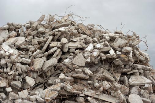 Destruction「Gray rubble at a building site」:スマホ壁紙(1)