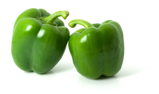 Green Bell Pepper「Two green bell peppers isolated on a plain white background」:スマホ壁紙(3)