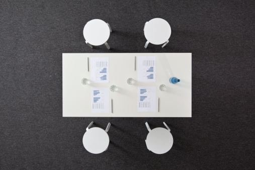Board Room「A set conference table prepared for a business meeting, overhead view」:スマホ壁紙(13)
