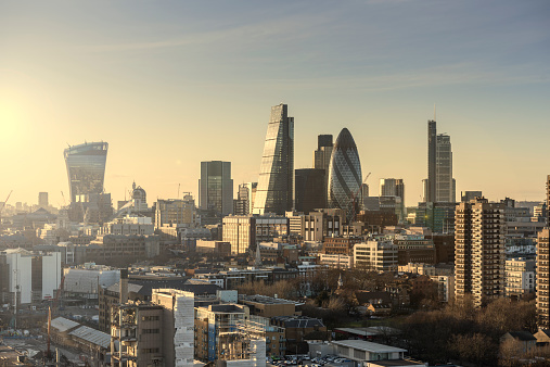 City of London「Aerial of City of London at sunset looking west」:スマホ壁紙(12)