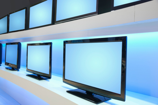 Electrical Equipment「Rows of LCD TVs in TV Store」:スマホ壁紙(17)