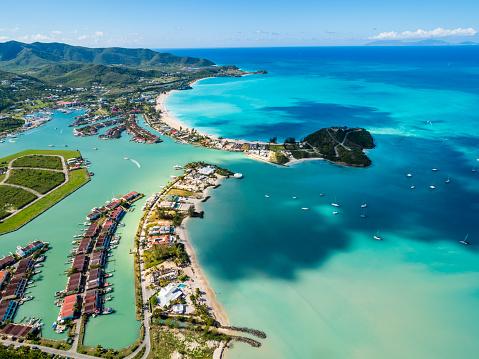 アンティグアバーブーダ「West Indies, Antigua and Barbuda, Antigua, aerial view, Jolly Harbour」:スマホ壁紙(19)