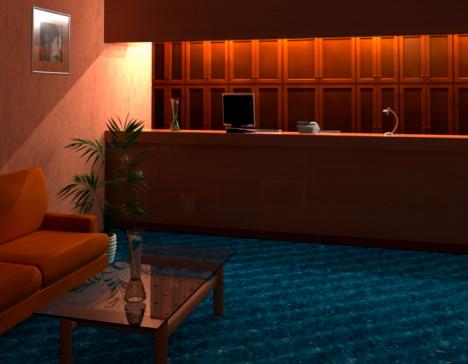 Hotel Reception「Empty reception area, computer graphic」:スマホ壁紙(1)