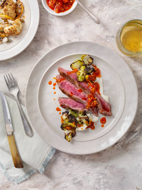 Medium Rare Flank Steak with Roasted Brussels Sprouts and Chili Oil:スマホ壁紙(壁紙.com)