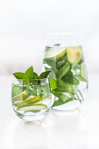 Infused Water「Glass and carafe of detox water with mint and limes」:スマホ壁紙(19)