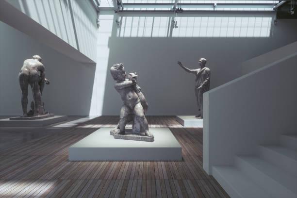 Museum exhibition with ancient sculptures:スマホ壁紙(壁紙.com)
