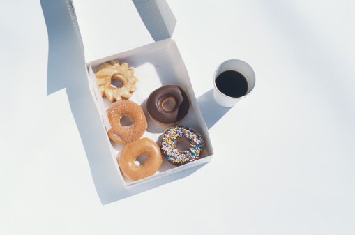 Glazed Food「Donuts and coffee to go, overhead view」:スマホ壁紙(17)