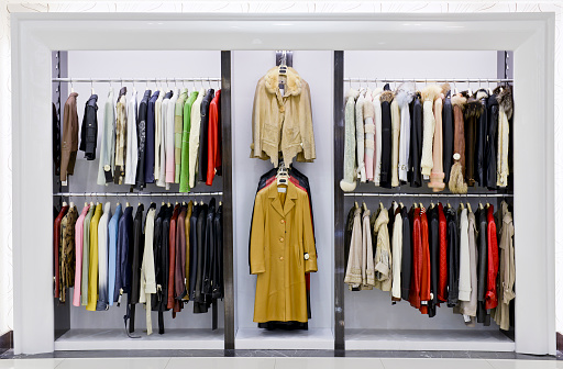 Coat - Garment「Leather jackets hanging in a store」:スマホ壁紙(9)